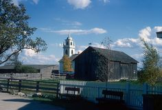 Christ Church + barn, Upper Canada Village, Ontario (1969) windvane on barn in form of trotting horse