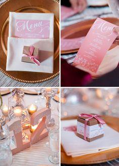Peach Pink Wedding Dinner Menu, Glittery Table Numbers, Kraft Box Favor