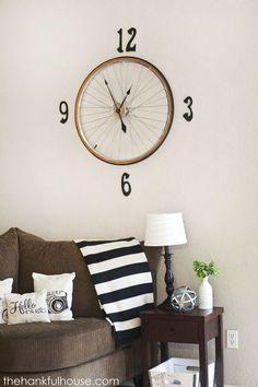vintage bicycle wheel clock, home decor, repurposing upcycling, wall decor Bicycle Wheel Decor, Bicycle Clock, Bike Wheel, Antique Bicycles, Set Of Drawers, Cool Clocks, Little Corner, Wooden Diy, Repurposed