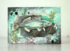 Handmade mixed media card for a fisher man. Made by Pastellipäivä. Atc, Fisher, Mixed Media, Cards, Handmade, Inspiration, Home Decor, Homemade Home Decor, Hand Made