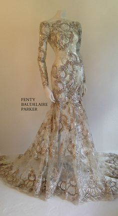 The Fenty Baudelaire Parker Fancy Foxy.I can imagine having this made with a nice african lace Stunning Dresses, Beautiful Gowns, Elegant Dresses, Pretty Dresses, Beautiful Outfits, Bridal Dresses, Prom Dresses, Wedding Gowns, Formal Dresses