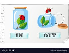 Opposite adjectives with in and out Royalty Free Vector English Teaching Materials, Learning English For Kids, English Language Learning, Teaching English, Opposites For Kids, Opposites Preschool, Preschool Learning Activities, English Lessons For Kids, Learn English Words