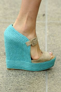 Christian Louboutin ice blue espadrille wedges! Fantastic!