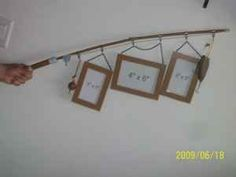 Fishing Pole hanging Wall Photo Display