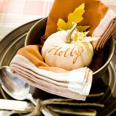 Thanksgiving Dinner Table Name Place Idea...in the soup bowl with the napkin.  Nice touch.