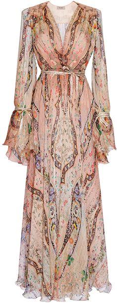 Etro Peach Paisley Silk Gown