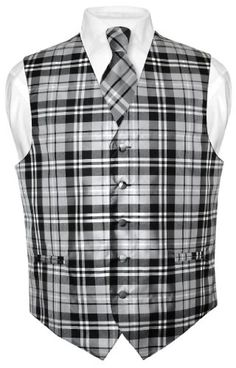 Men's Plaid Design Dress Vest & NeckTie Black Gray White Neck Tie Set XL Vesuvio Napoli http://www.amazon.com/dp/B008KAS9BO/ref=cm_sw_r_pi_dp_EtFexb0YJQQA9