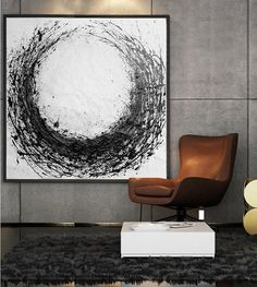 Large Abstract Painting Circle Acrylic Painting by CelineZiangArt
