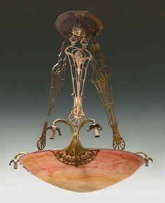 Daum Nancy Art Glass Chandelier Early 20th century. Etched Daum Nancy.