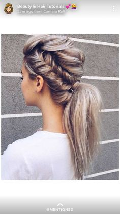 Beautiful Braid and ponytail Hairstyle , fishtail braided ponytail Beautiful Braid and ponytail Hairstyles For A Romantic Bride - Textured updo, updo wedding hairstyles,updo hairstyles,messy updos Braided Ponytail Hairstyles, Up Hairstyles, Pretty Hairstyles, Wedding Hairstyles, Ponytail Updo, Hairstyle Ideas, Mohawk Updo, Ponytail Ideas, Blonde Ponytail