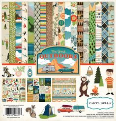 """Carta Bella The Great Outdoors Collection 12"""" x 12"""" Scrapbook Paper and Sticker Kit"""