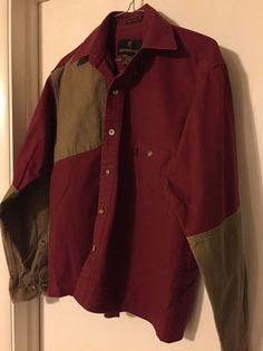 Lightly Used Browning Maroon tan Hunting Shooting  Shirt Sz Small Mens #Browning