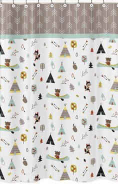 Outdoor Adventure Shower Curtain by #SweetJojoDesigns features foxes, arrows, canoes, teepees and bears oh my!