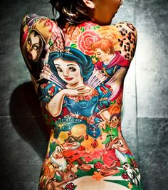 "One grown woman took her love of animated fairy tales to the next level by covering her entire back in tattoos of the characters from  ""Snow White and the Seven Dwarfs."" Annfaye Kao, 27, of Taichung, Taiwan had the intricate artwork – a colorful collage of her favorite film's top characters (including the evil queen) – completed in a three-month inking session. The hard work paid off, as Kao won an award at an international tattoo convention."