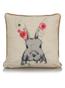 George Home Rabbit with Flowers Cushion 43x43cm | Cushions | ASDA direct