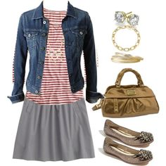 Gray cotton skirt outfit inspiration...love mixing gold w/ gray. And stripes! I love stripes.