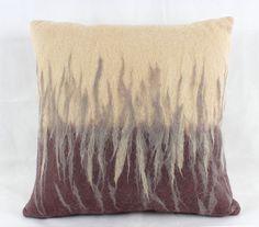 Modern, contemporary felt cushion, handmade in Scotland, X brown and beige, feather filled cushion pad. by KerrySouterArtist on Etsy Felt Cushion, Felt Pillow, Cushion Pads, Wet Felting, Needle Felting, Textiles, Felt Art, Wool Felt, Felted Wool