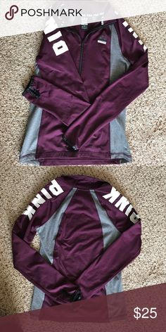 Victoria's Secret half zip Perfect condition. Burgundy and dark gray. Worn a handful of times. PINK Victoria's Secret Tops Tees - Long Sleeve