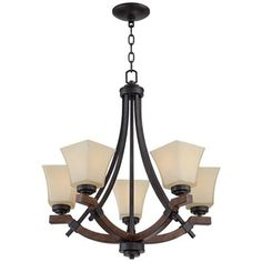 "Ranger 23 1/2"" Wide 5-Light Faux Wood and Bronze Chandelier"