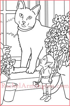 Coloring page from Fairy Kids and Kittens coloring book