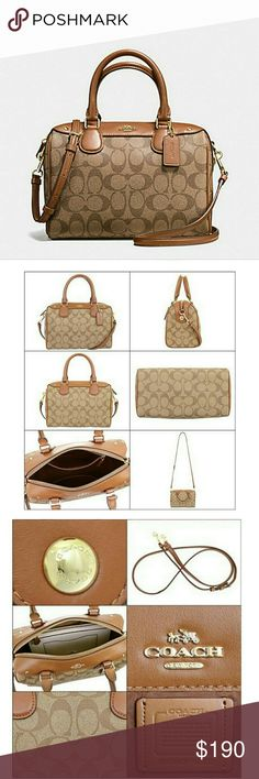 "COACH mini Bennett Satchel bag 100% Authentic! Brand NEW with tag👍 Coach signature print mini Bennett Satchel in Khaki/Saddle.   Zip-top closure  Gold tone hard ware fabtic lining, inside zip and multifunction pockets.  Longer strap with 21"" for Shoulder or crossbody wear. Handle with 4"" drop. Size: 9""(L)x6.5""(H)x5""(W)   * REASONABLE offers are WELCOME!!  *Check out my other listings to bundle and SALE 10%!! Coach Bags Satchels"