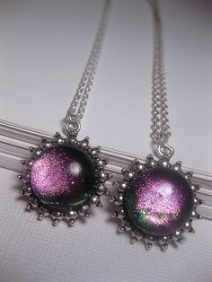 Green Pink Necklace Dichroic Shimmer & by FashionCrashJewelry