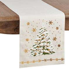 Enrich your tablescape this holiday season with the addition of the Saro Lifestyle O Tannenbaum Table Runner. Embellished with a delightful winterly design, this lovely linen is accentuated with a classic holiday color. Christmas Tree On Table, Led Christmas Lights, Christmas Tree Design, Holiday Tables, Christmas Decor, Purple Table, Tree Table, Lace Table Runners, Touch Of Gold