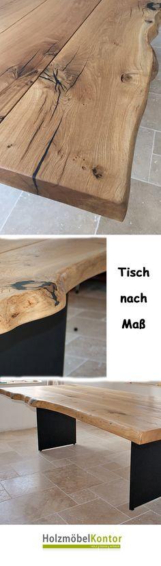 Esstisch Eiche Natur Mit Baumkante. Handgefertigte Tischplatte Aus Massiver  Eiche (7cm Dicke Stammbohlen)