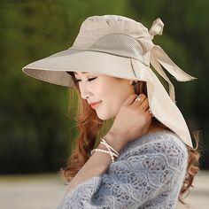 34891890f27 Fashion large brimmed sun hats Foldable womens sunhats Self-tie Bow women s