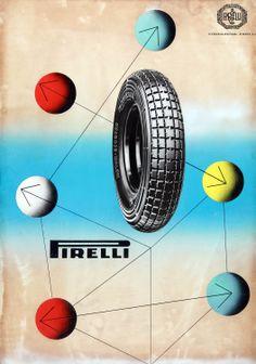 Ezio Bonini, advertisement for Pirelli motor-scooter tyres, 1953 http://www.fondazionepirelli.org