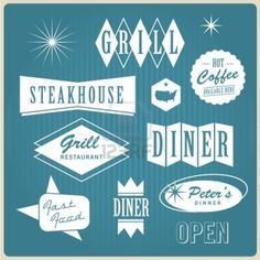 Vintage restaurant logo, badges and labels Stock Photo - 16211793