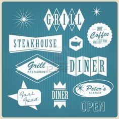 Vintage restaurant logo, badges and labels Stock Photo - 16211793