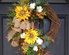 Fall Door Wreath-Sunflower Wreath-Rustic Cotton Boll Wreath-Country Wreath-Farmhouse Decor-Cottage Wreath-Harvest Wreath-Autumn Wreath