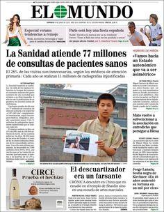 Los Titulares y Portadas de Noticias Destacadas Españolas del 9 de Junio de 2013 del Diario El Mundo ¿Que le parecio esta Portada de este Diario Español?