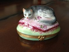 Limoges Hand painted Cat Trinket Box от PatinaPatina на Etsy
