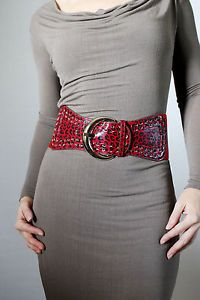 4  Wide Women s Fashion Western Belt Stretch Red Leopard Vinyl Chrome Buckle   eBay *Ciara's efn closet hanger bar suspends at the very least three red vinyl belts! lmfao*