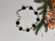 Genuine Black Onyx Bracelet 925 Silver Friendship Bracelet by Jhunga g Black Onyx, Sterling Silver Bracelets, Friendship Bracelets, 925 Silver, Jewelry Making, Jewels, Pure Products, Gemstones, Handmade