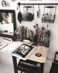 art station with a black color scheme . - Huh … art station with a black color scheme -Huh . art station with a black color scheme . - Huh … art station with a black color scheme - Art Studio Organization, Organization Ideas, Art Studio Storage, Workshop Storage, Art Station, Aesthetic Rooms, Artist Aesthetic, Witch Aesthetic, Aesthetic Painting