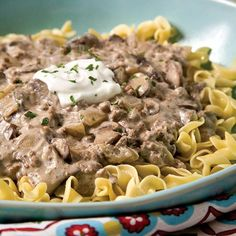 All the flavors of stroganoff come together quickly in this dish that used ground beef instead of more expensive beef tips.