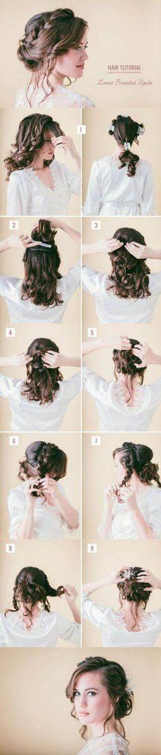 Loose Braided Hair Tutorial | Step By Step Hair Updo by Makeup Tutorials at http://makeuptutorials.com/14-stunning-easy-diy-hairstyles-long-hair-hairstyle-tutorials/: