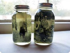 """Don't forget to SHARE this so the recipe will be SAVED to your timeline!   DIY: """"Vintage"""" Photo Mason Jar Centerpiece!"""