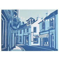 Original Linocut Print, Well Street, Moffat by Maria Doyle