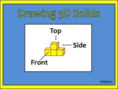 18 high quality Mathematics Centre Task Cards for drawing views of 3D solids.These task cards have been designed to challenge students to draw views (top, side, front) of 3D solids. My students love the challenge! I like to use them as a center activity after students used multilink cubes to build all 18 diagrams.Differentiation:The higher the number of the card, the more challenging the drawings will be.