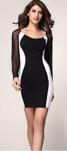 Love Black and White! Sexy Black Sheer Mesh Long Sleeve Bodycon Dress #Sexy #Black #Sheer #Mesh #Long #Sleeve #Bodycon #Dress #Fashion
