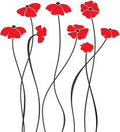 Charming Poppy Flowers Wall Decal Art Home Deco by LifeColorsCity Pottery Painting, Ceramic Painting, Fabric Painting, Flower Doodles, Beautiful Drawings, Whimsical Art, Paint Designs, Zentangle, Doodle Art