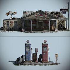 3d old gas station model