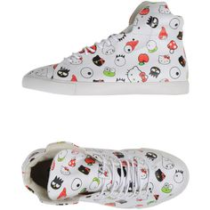 Sanrio Forfex High-top Trainers (146,695 KRW) ❤ liked on Polyvore featuring shoes, sneakers, white, leather hi top sneakers, white leather sneakers, leather sneakers, white leather shoes and white sneakers