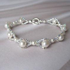 Weiße Braut Armband Swarovski Perle Silber Seed Perlen gewebt