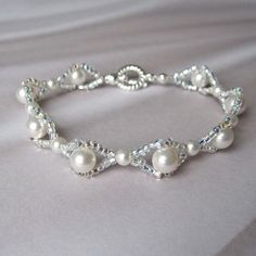 Woven bridal bracelet white Swarovski pearl silver seed bead
