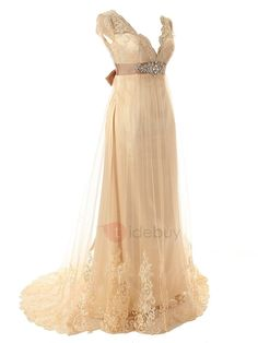 Tidebuy.com Offers High Quality V-Neck Empire Waist Cap Sleeve Beading Lace Wedding Dress, We have more styles for Beach Wedding Dresses